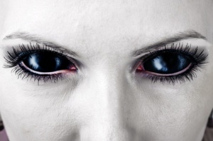 Evil black female zombie eyes.