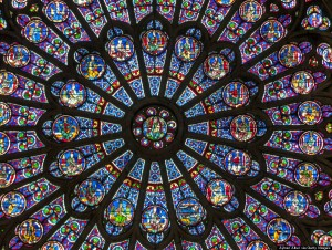 A view of the famed Rose Window in Notre Dame Cathedral, Paris, France.